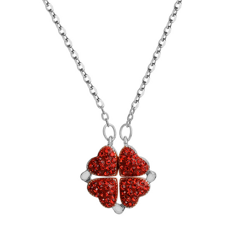 Four Leaf Clover Heart Crystal Necklace