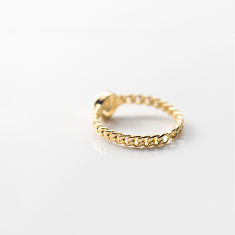 Smiley Face Chain Link Ring