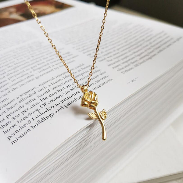 Gold Rose Flower Necklace - PuraVanity