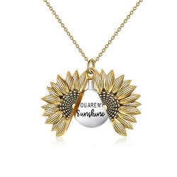 Sunflower Locket Necklace - You Are My Sunshine - PuraVanity