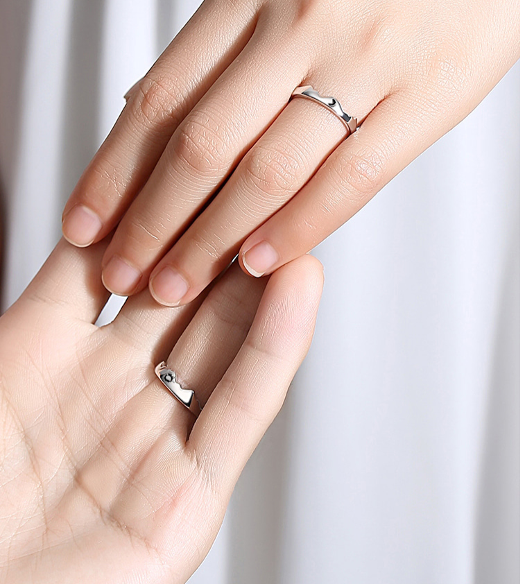 Mountain Sun & Moon Couple Rings (Set of 2)