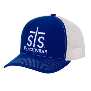 STS Puff Cap - Royal Blue & White