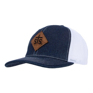 STS Cut Out Patch Cap - Denim & White