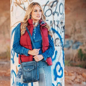 Denim Leather Crossbody