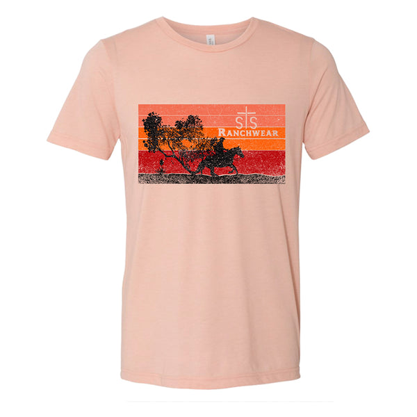 STS Ladies Cowboy Sunset Tee (Peach)