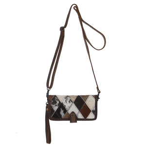 Diamond Cowhide Crossbody Wallet
