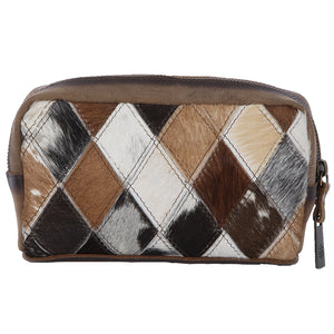 Diamond Cowhide Cosmetic Bag