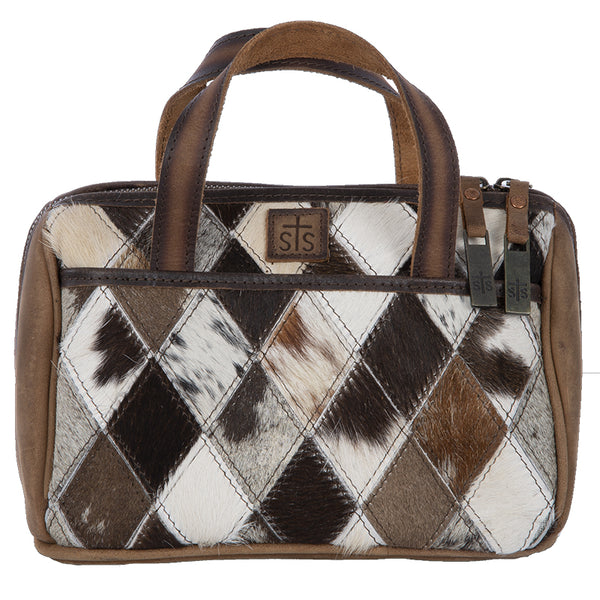 Diamond Cowhide Makeup Bag