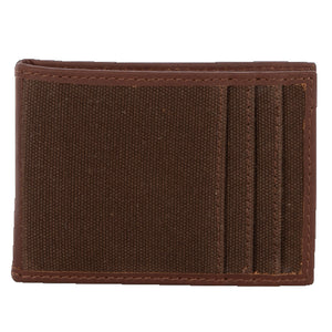 Chocolate Canvas Money Clip Card Wallet