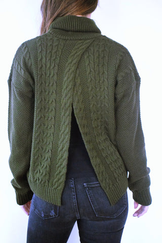 Olive Open Back High Neck Pullover