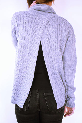 Grey Open Back High Neck Pullover