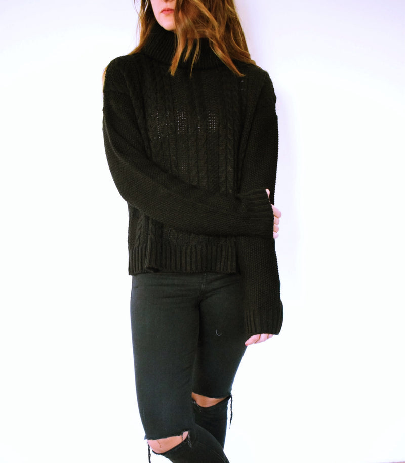 Black Open Back High Neck Pullover