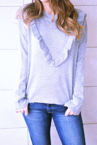 Grey Ruffle Pullover