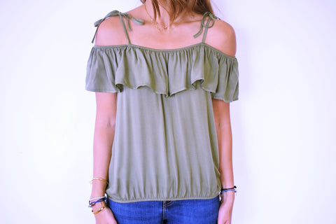 Olive Ribbon Tie Off Shoulder Top