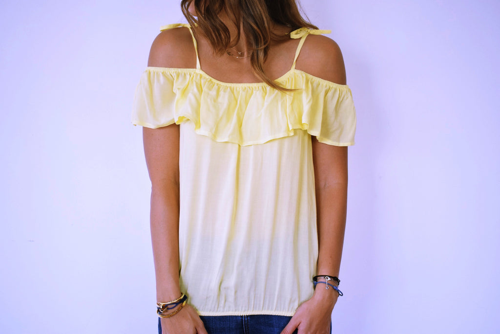 Yellow Ribbon Tie Off Shoulder Top
