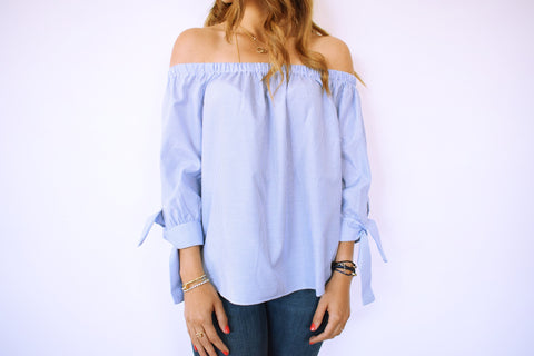 The Blue Pinstripe Off Shoulder Top