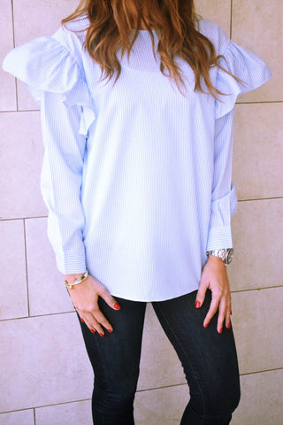 Blue Pinstripe Ruffle Top