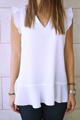 White Sleeveless Ruffle Trim Top