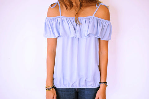 Blue Ribbon Tie Off Shoulder Top