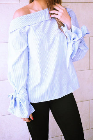Asymmetrical Bow Sleeves Stripe Top