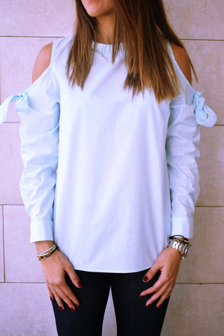 Aqua Bow Cold Shoulder Top