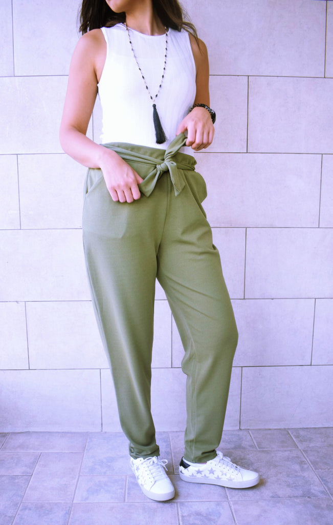 Khaki Belted Cigarette Pants