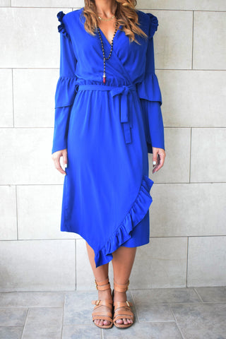 Blue Ruffle Midi Dress