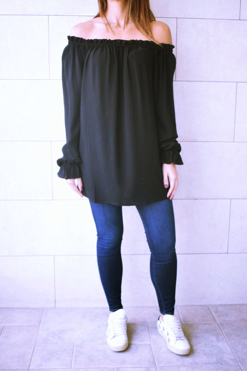 Sheer Black OffShoulder Tunic