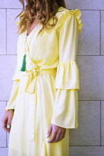 Yellow Ruffle Midi Dress