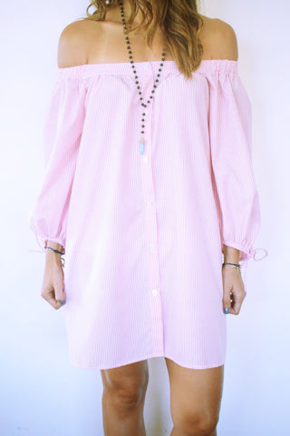 Pink Pinstripe Off Shoulder Tunic