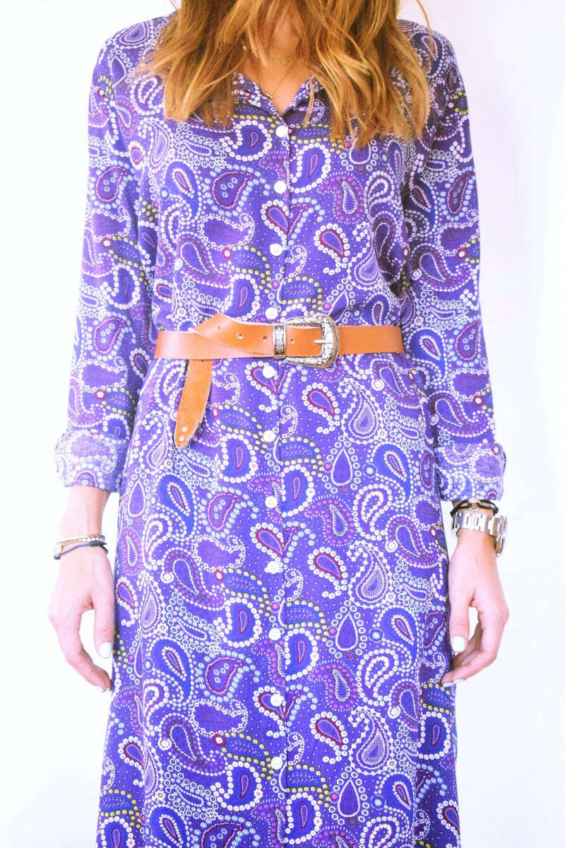 Summer Purple Paisley Shirt Dress