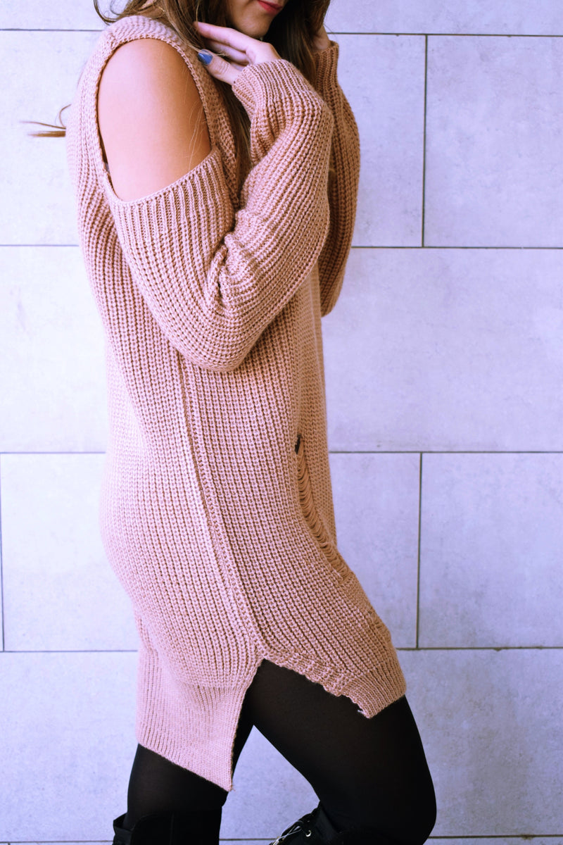 Peach Ripped Cold Shoulder Pullover