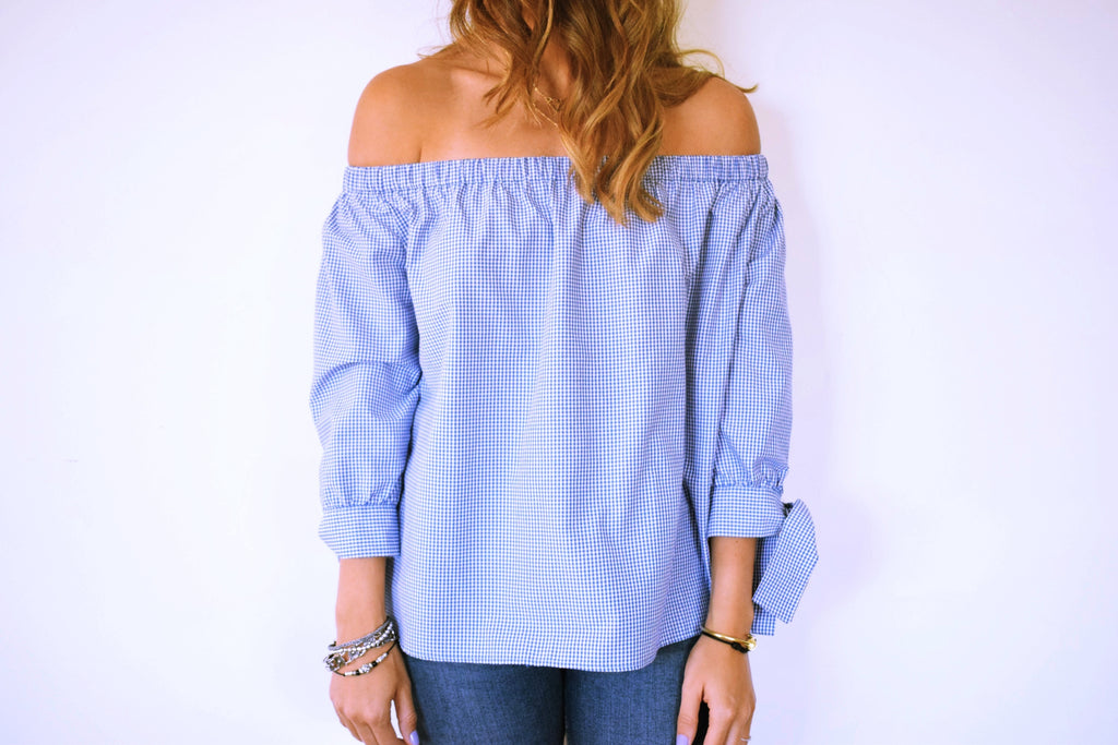 The Navy Checkered Off Shoulder Top