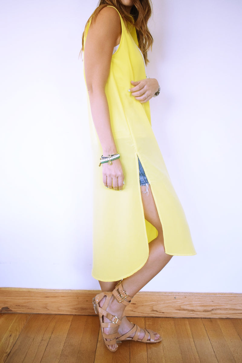 Yellow Sleeveless Beach Shirt