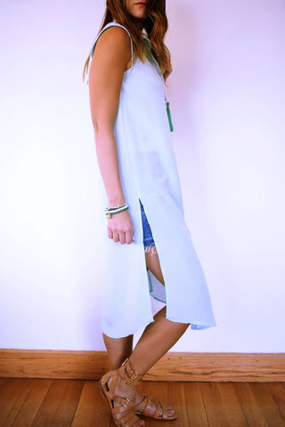Pastel Blue Sleeveless Beach Shirt