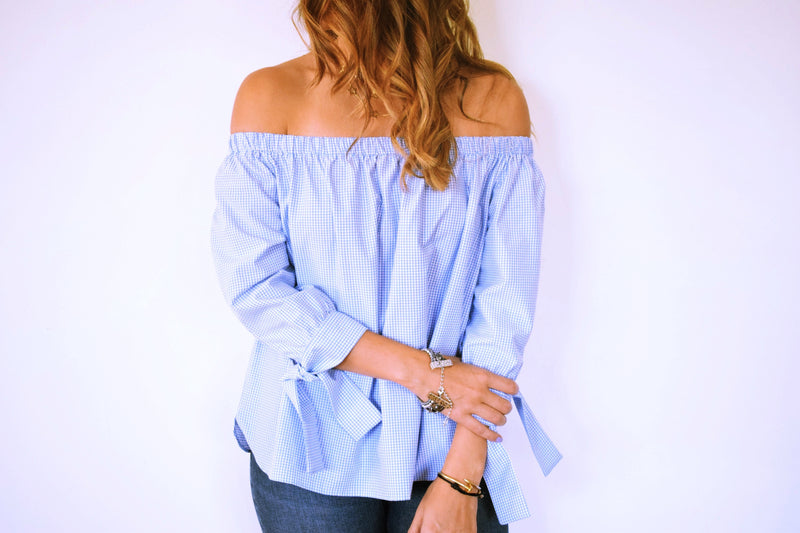 The Baby Blue Checkered Off Shoulder Top