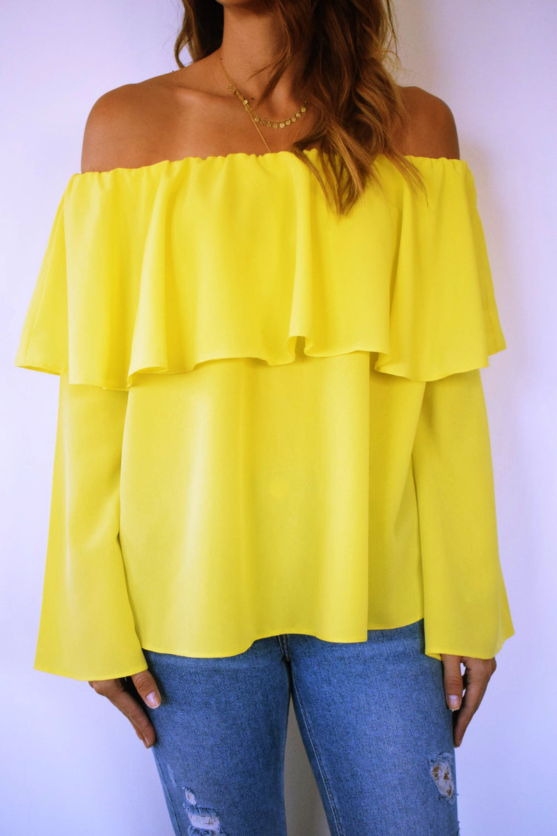 Yellow Tiered Off Shoulder Top