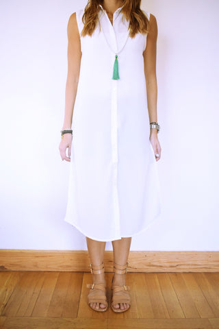 White Sleeveless Beach Shirt