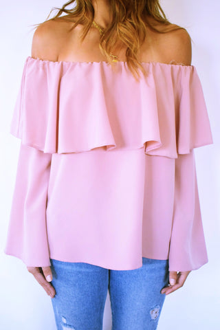 Blush Tiered Off Shoulder Top