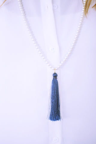 Blue Pearl Tassel Necklace