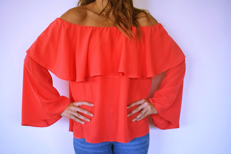 Watermelon Tiered Off Shoulder Top