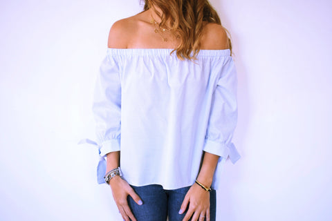 The Baby Blue Pinstripe Off Shoulder Top