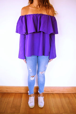 Purple Tiered Off Shoulder Top