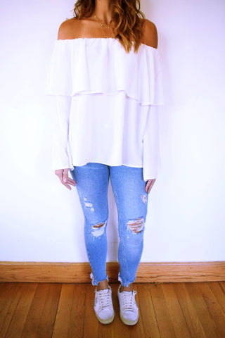 White Tiered Off Shoulder Top