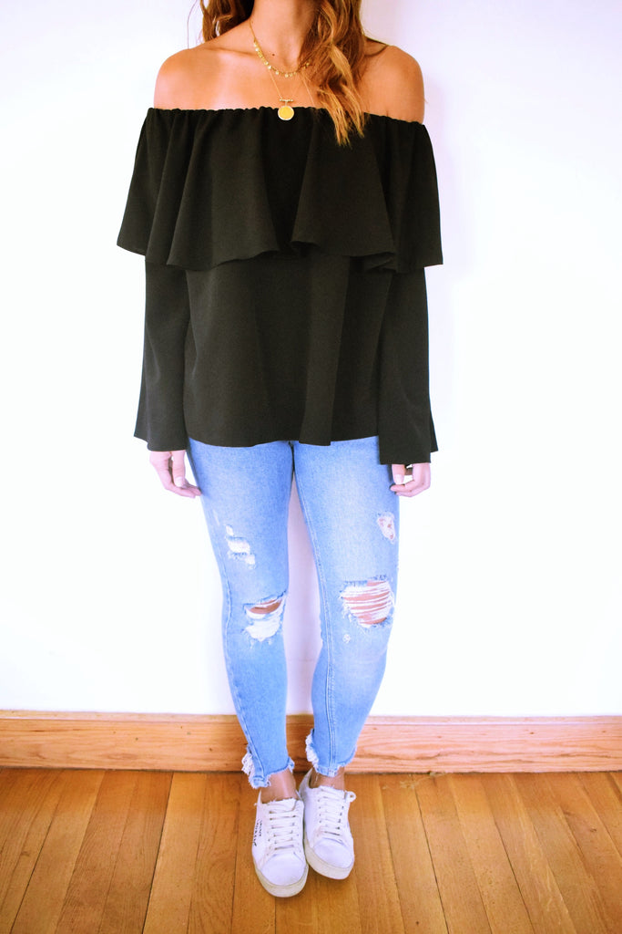 Black Tiered Off Shoulder Top