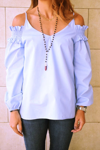 Sassy Blue Cold Shoulder Top