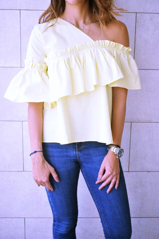 Yellow Abstract One Shoulder Top