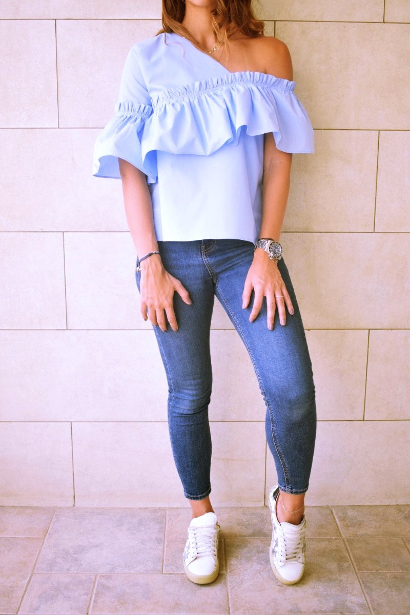 Blue Abstract One Shoulder Top