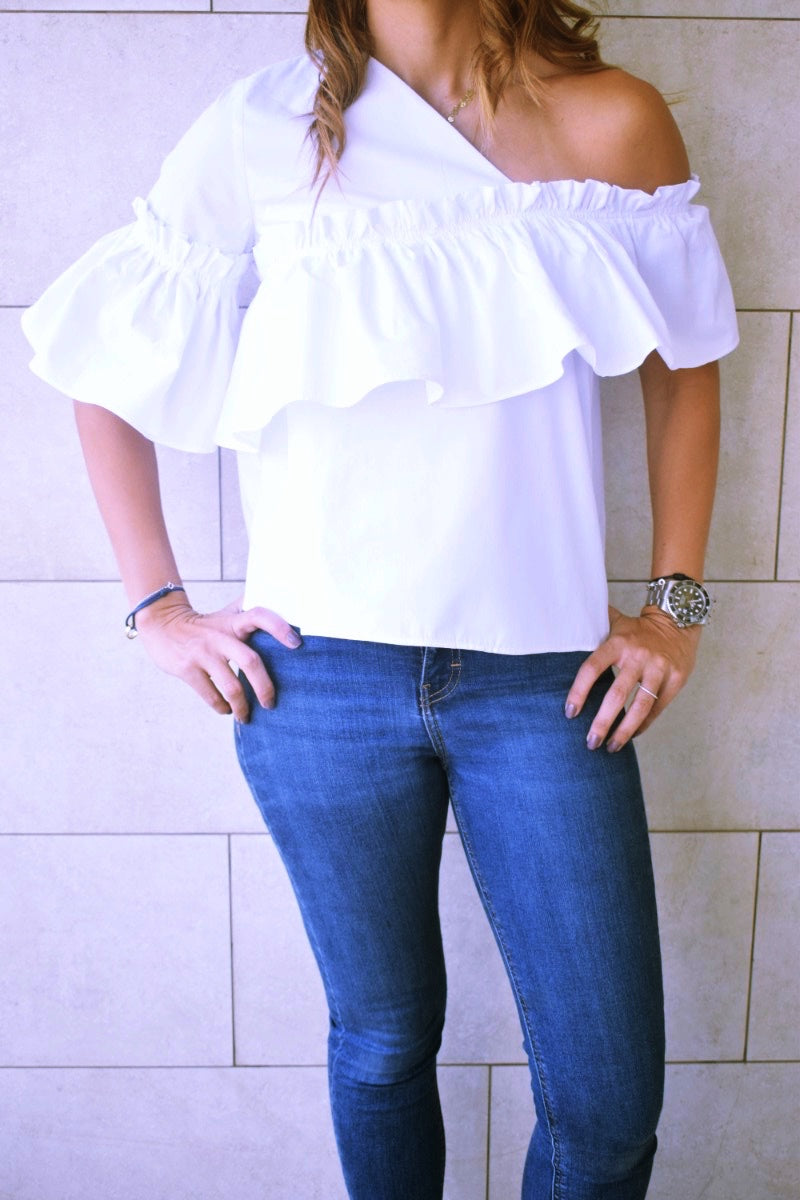 White Abstract One Shoulder Top
