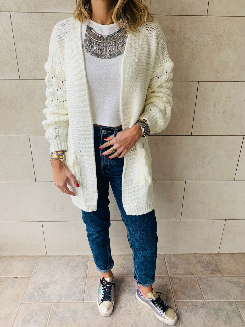 white holly pocket cardigan